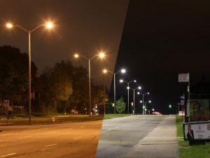 A before and after comparison of a city street with old and new streetlights.