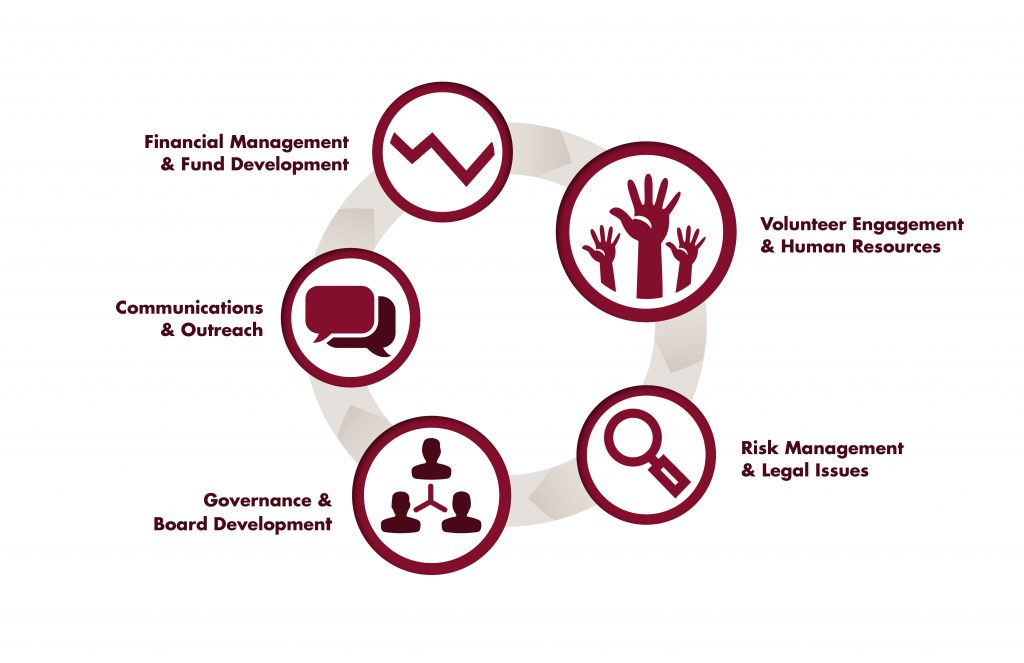 "A graphic displaying the terms ""Financial Management and Fundraising"", ""Volunteer Engagement and Human Resources"", ""Risk Management and Legal Issues"",""Governance and Board Development"" and ""Communications and Outreach"" with stylized symbols arranged in a circle."